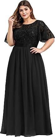 Ever-pretty Womens Short Sleeve Empire Wiast A Line Long Tulle Elegant Plus Size Wedding Guest Dresses Black 22UK