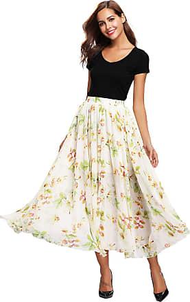 Abollria Womens Summer Chiffon Floral Print Elastic Waist Beach Long Maxi Skirt (XXL, White)