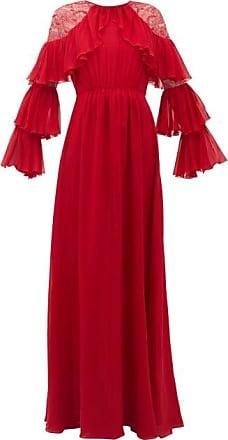 Giambattista Valli Ruffled Lace-trimmed Silk-georgette Gown - Womens - Red