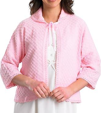 Slenderella Ladies Peter Pan Collar Bed Jacket Diamond Pattern Crochet Trim Cardigan - Small (Pink)