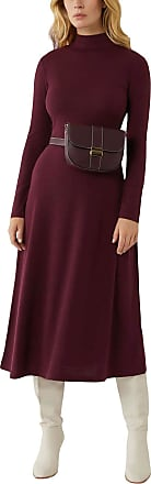 White Label Warehouse Burgundy Berry Funnel Neck Jersey Midi Dress Long Sleeve Size 10