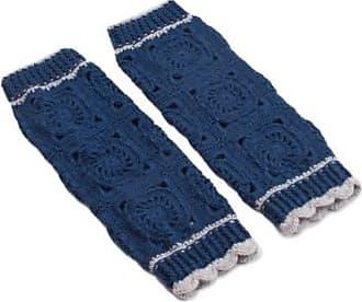 Novica Hand-crocheted alpaca blend leg warmers, Inca Style in Azure