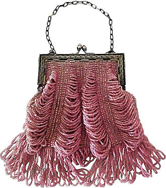 12d010066281 1stdibs 1920s Rose Glass Beaded Metal Frame Handbag