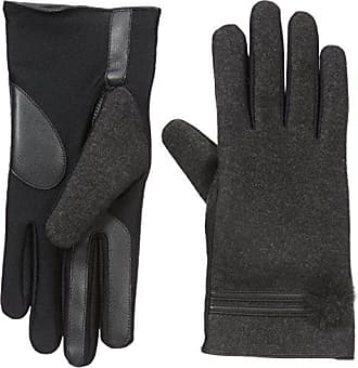 Isotoner Womens Smartouch Stretch Glove with Faux Fur Pom and Trim, Dark Charcoal, S/M