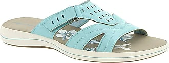Easy Street Womens Blanche Fabric Open Toe Beach Slide Sandals, Blue, Size 6.5 US