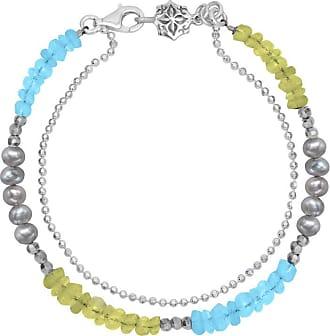 Dower & Hall Peridot, Blue Topaz & Pearl Bead Orissa Bracelet