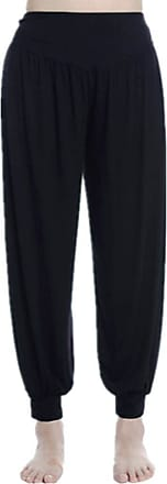Inlefen Womens Modal Yoga Long Pants Solid Color Sport Loose Large Size High Waist Slim Fit Dance Lantern Trousers with Cotton(Black/3XL)