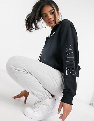 Nike air zip through hoodie in black