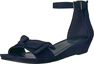 Kenneth Cole Reaction Womens Start Low Wedge Sandal Bow Detail Microsu, Navy, 6.5 M US
