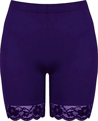 Be Jealous Womens Ladies Lace Trim Jersey Gym Bike Cycling Hot Pants Leggings Tights Shorts Purple