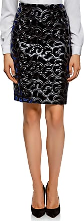 oodji Collection Womens Velvet Skirt with Faux Leather Applique, Blue, UK 10 / EU 40 / M