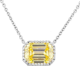 Fantasia White Gold Plated Emerald Cut East-West Pave Pendant