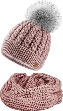 4sold Womens Ladies Beanie Scarf & Hat Pom Pom Warm Winter Natural Wool Mohair Lining Full Cosy Fleece Liner - Set Carla Rouse Pink