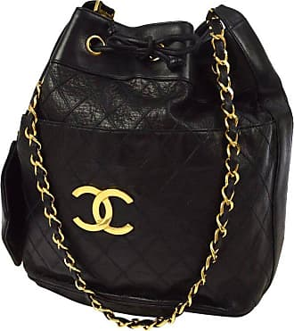 44cfc2cf189 Chanel Black Quilted Lambskin Gold Toned cc Drawstring Bucket Shoulder Bag