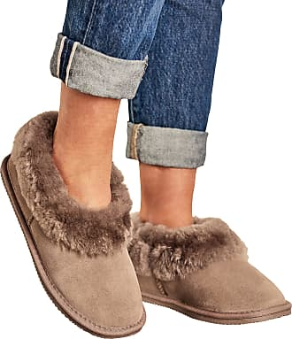 WoolOvers Womens Short Sheepskin Slipper Boot Mink, UK 3