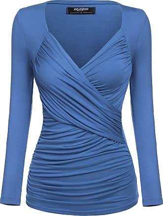 Zeagoo Womens V-Neck Long-Sleeved Tunic Blouse Top Tail T-Shirt with Ruffles - Blue - S