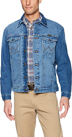 Wrangler Mens Western Style Denim Jacket, Faded Blue, US Large Tall