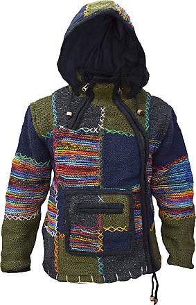 Gheri Mens Woolen Patch Kangaroo Pouch Fleece Lined Hand Knitted Winter Jacket Hoodie Single Zip X-Large