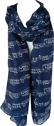 GlamLondon Music Print Scarf, Musical Note Printed Scarves, Ladies Soft Large Size Fashion Wrap Sarong Shawl (Blue)