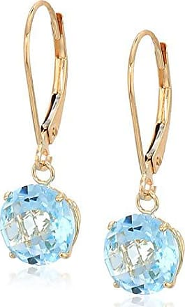 Amazon Collection 10k Yellow Gold Round Checkerboard Cut Sky Blue Topaz Leverback Earrings (8mm)