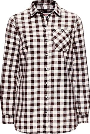 97d9437e2355 John Baner Jeanswear Dam Rutig skjorta med tvättad look, långärmad i svart  - John Baner