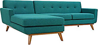 ModWay Modway Engage Mid-Century Modern Upholstered Fabric Left-Facing Sectional Sofa In Teal