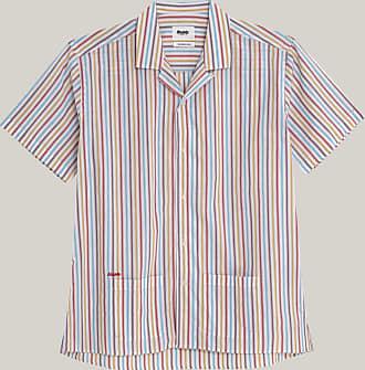 Brava Fabrics Camisa Aloha - Camisa Hawaii para Hombre - 100% Algodón Orgánico - Modelo Downtown Stripes