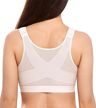 Delimira Womens Full Coverage Front Closure Wire Free Back Support Posture Bra Rose White 38F
