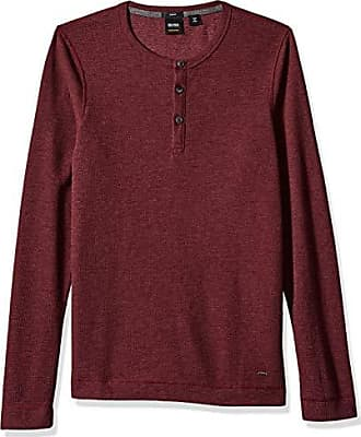 fb7d73a5e HUGO BOSS BOSS Orange Mens Trix Henley Waffle Long Sleeve Tee, Open red XL
