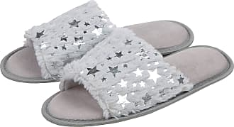 Forever Dreaming Laides Womens Open Toe Slippers Memory Foam Slip On Flat Jewel Indoor Faux Fur White 5-6