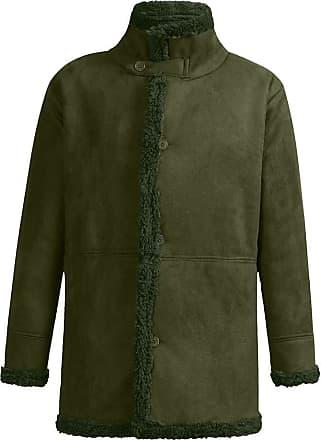 QUINTRA Mens Winter Sheepskin Jacket Warm Wool Lined Mountain Faux Lamb Jackets Coat Army Green