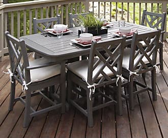POLYWOOD Outdoor POLYWOOD Chippendale Dining Set with Cushions - Seats 6 - Slate Grey / Birds Eye, Patio Furniture - PWS121-2-GY5472