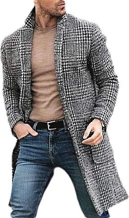 H&E Mens Casual Check Printed Wool-Blend Overcoat Pea Coat Black White Medium