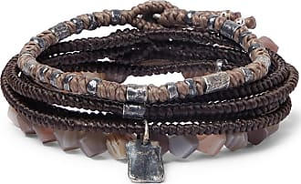 M. Cohen The Create Stack Ii Sterling Silver And Labradorite Bracelets - Brown