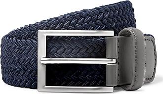 Kjus Golf 3.5cm Navy Leather-trimmed Woven Webbing Belt - Navy
