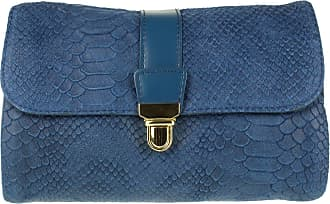 Girly HandBags Girly HandBags Italian Snake Leather Clutch Bag Messenger - Denim