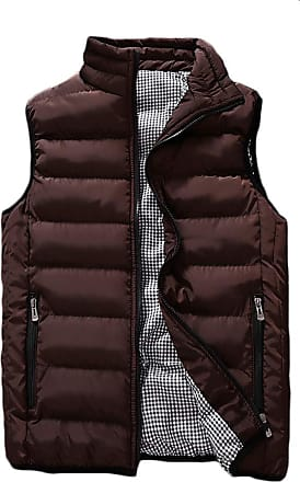 ZongSen Mens Winter Outdoor Puffer Vest Body Warmer Quilted Waistcoat Padded Sleeveless Jacket Coffee 5XL