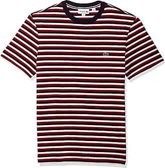 Lacoste Mens Short Sleeve Jersey Tee-with Chine Stripes, Blue Pigment Turkey Red/Flour, Large