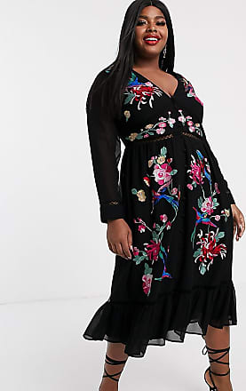 Asos Curve ASOS DESIGN Curve embroidered skater midi dress with lace trims and pephem in black