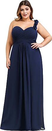 Ever-pretty Womens One Shoulder A Line Empire Waist Elegant Chiffon Plus Size Evening Dresses Navy Blue 20UK