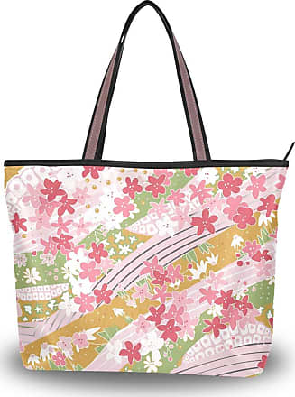Lorona Women Pink Floral Cherry Blossoms Pattern Canvas Shoulder Hand Bag Large Capacity Tote Bag