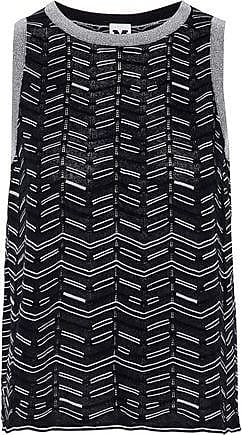 eac2668a70a80c M Missoni M Missoni Woman Metallic-trimmed Crochet-knit Top Black Size 42
