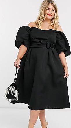 Asos Curve ASOS DESIGN Curve - Vestito da prom midi nero con maniche a sbuffo, scollo Bardot e cintura