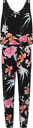Top Fashion18 Top Fashion Ladies Plus Size Floral Print Frill Jumpsuit Slim Fit UK Size 14-28 (UK Size 26/28, Black)