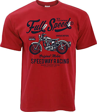 Tim And Ted Retro Biker T Shirt Full Speed Speedway Racing Art - (Red/XXXX-Large)