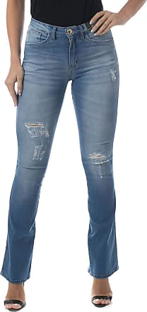 Eventual Calça Jeans Flare Mid Rise Mulher, 42, Azul
