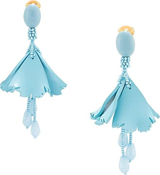 Oscar De La Renta floral-drop clip-on earrings - Blue