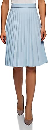 oodji Collection Womens Accordion Pleat Skirt, Blue, UK 16 / EU 46 / XXL