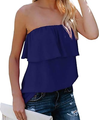 YYW Women Summer Casual Sexy Tops Tube Top Chiffon Sleeveless Flowy Blouse Strapless Ruffle Swing Shirt (Purplish Blue,L)