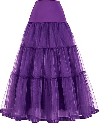 Grace Karin Ladies Long Half Slips A-Line Rockabilly Evening Wedding Petticoat Underskirt Purple XL